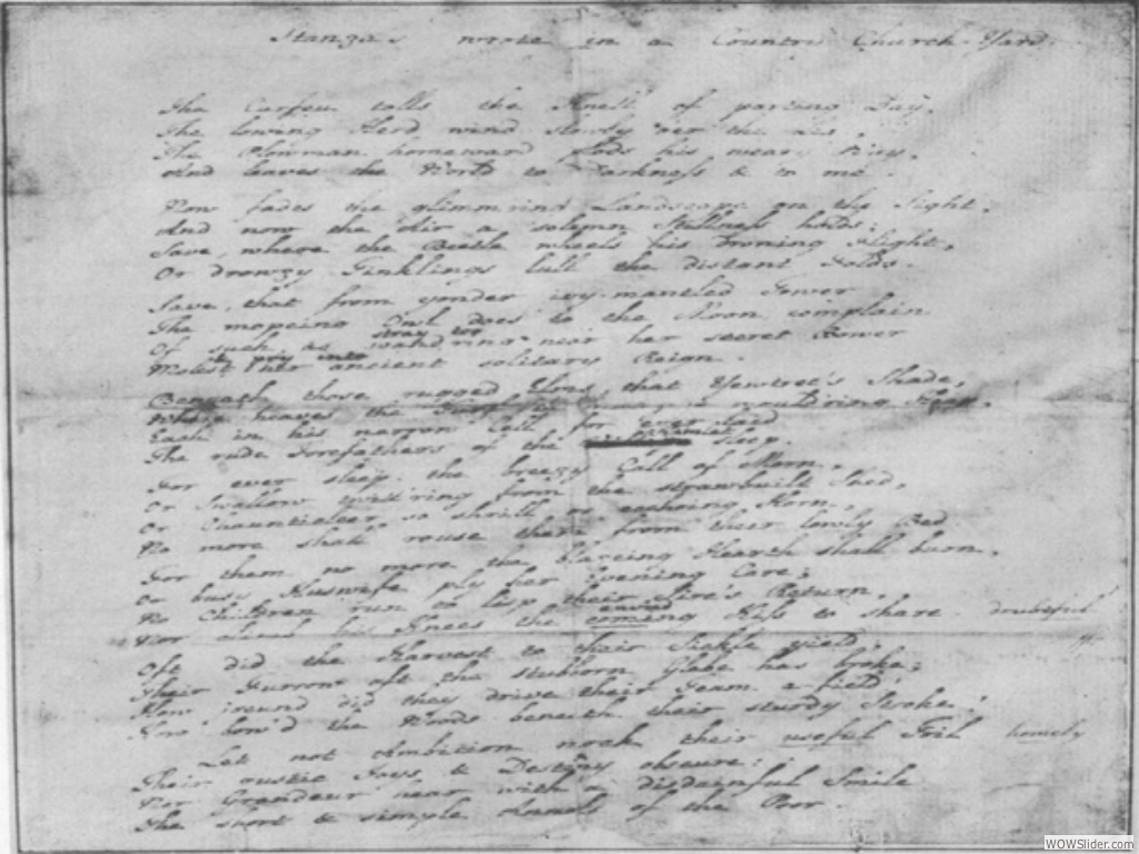 Gray's manuscript of 'Elegy' - Eton College Library
