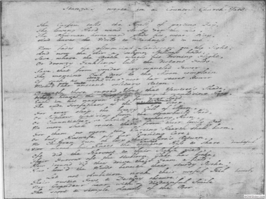 Gray's manuscript of 'Elegy' - Eton College Library